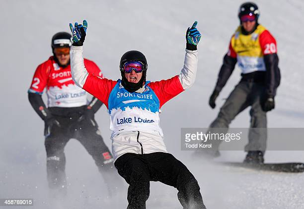 Jarryd Hughes of Australia celebrates his win in front of Konstantin Schad of Great Britain and Alex Deibold of the US during the men's finals at the...