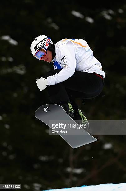 Jarryd Hughes of Australia competes in the Men's Snowboardcross Qualification heats during the FIS Freestyle Ski World Championships on January 15...
