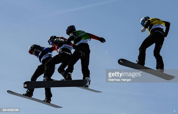 Jarryd Hughes of Australia Hagen Kearney of the United States Kevin Hill of Canada and Baptiste Brochu of Canada compete in the Men Semifinal during...
