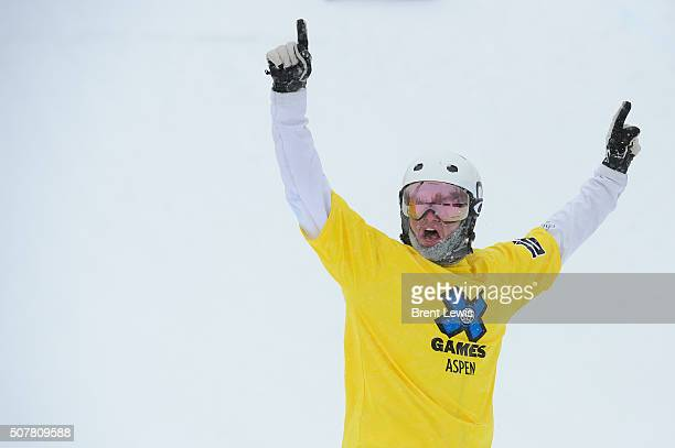 Jarryd Hughes raises his arms in victory after winning the men's ski cross finals at Winter X Games 2016 at Buttermilk Mountain on January 31 2016 in...