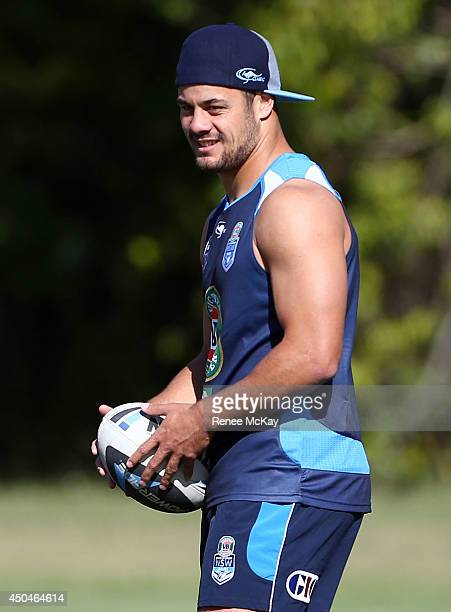 Jarryd Jayne catches the ball during a New South Wales Blues State of Origin training session at Novotel Coffs Harbour on June 12 2014 in Coffs...