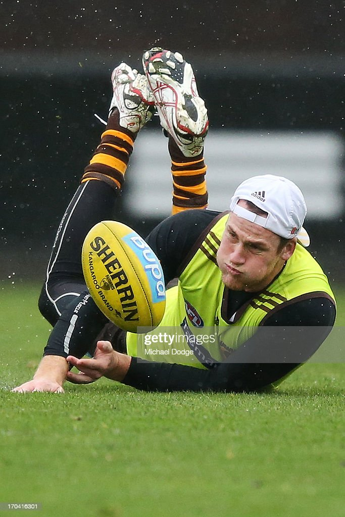 <a gi-track='captionPersonalityLinkClicked' href=/galleries/search?phrase=Jarryd+Roughead&family=editorial&specificpeople=227104 ng-click='$event.stopPropagation()'>Jarryd Roughead</a> dives for the ball during a Hawthorn Hawks AFL training session at Waverley Park on June 13, 2013 in Melbourne, Australia.
