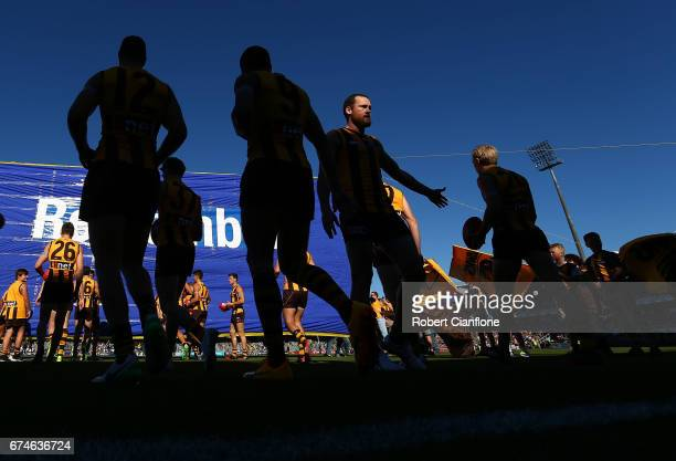 Jarryd Roughead of the Hawks acknowledges his team mates as they run out for the round six AFL match between the Hawthorn Hawks and the St Kilda...
