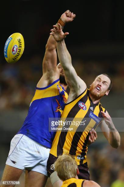 Jarryd Roughead of the Hawks and Will Schofield of the Eagles compete for the ball during the round five AFL match between the Hawthorn Hawks and the...
