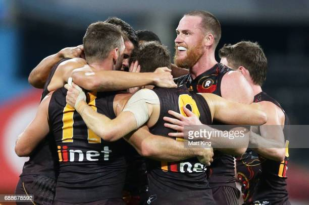 Jarryd Roughead of the Hawks celebrates victory with team mates at fulltime during the round 10 AFL match between the Sydney Swans and the Hawthorn...