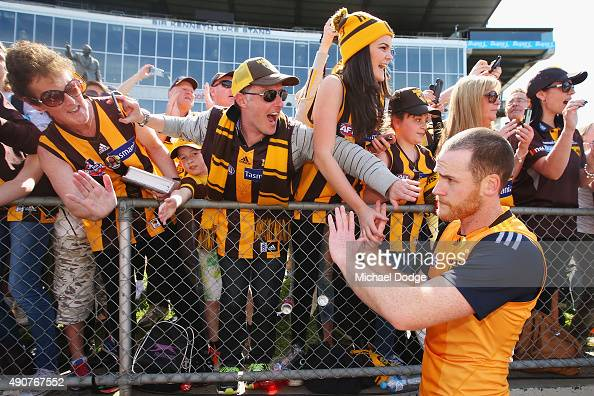 Jarryd Roughead of the Hawks is greeted by fans when walking off during a Hawthorn Hawks AFL training session at Waverley Park on October 1 2015 in...