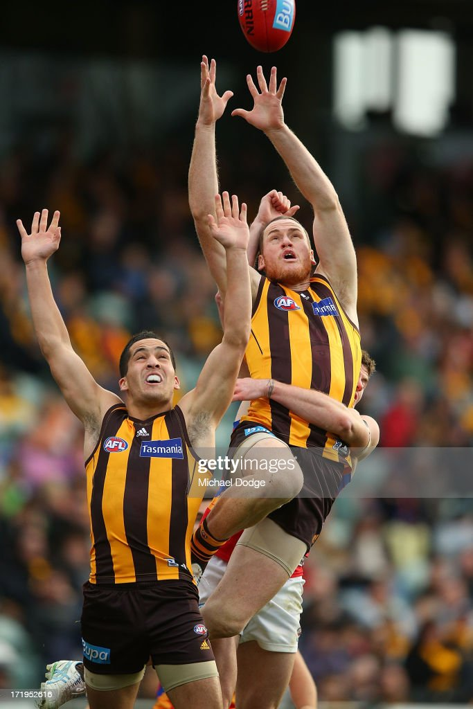 Jarryd Roughead of the Hawks jumps high for a mark during the round 14 AFL match between the Hawthorn Hawks and the Brisbane Lions at Aurora Stadium on June 30, 2013 in Launceston, Australia.