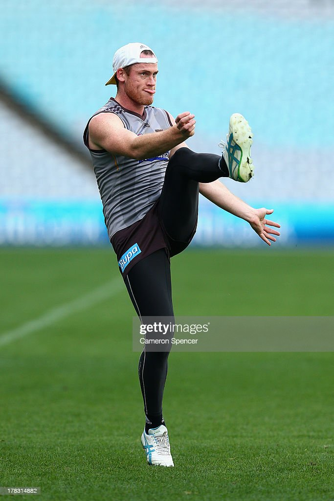 Jarryd Roughead of the Hawks kicks during a Hawthorn Hawks AFL training session at ANZ Stadium on August 29, 2013 in Sydney, Australia.