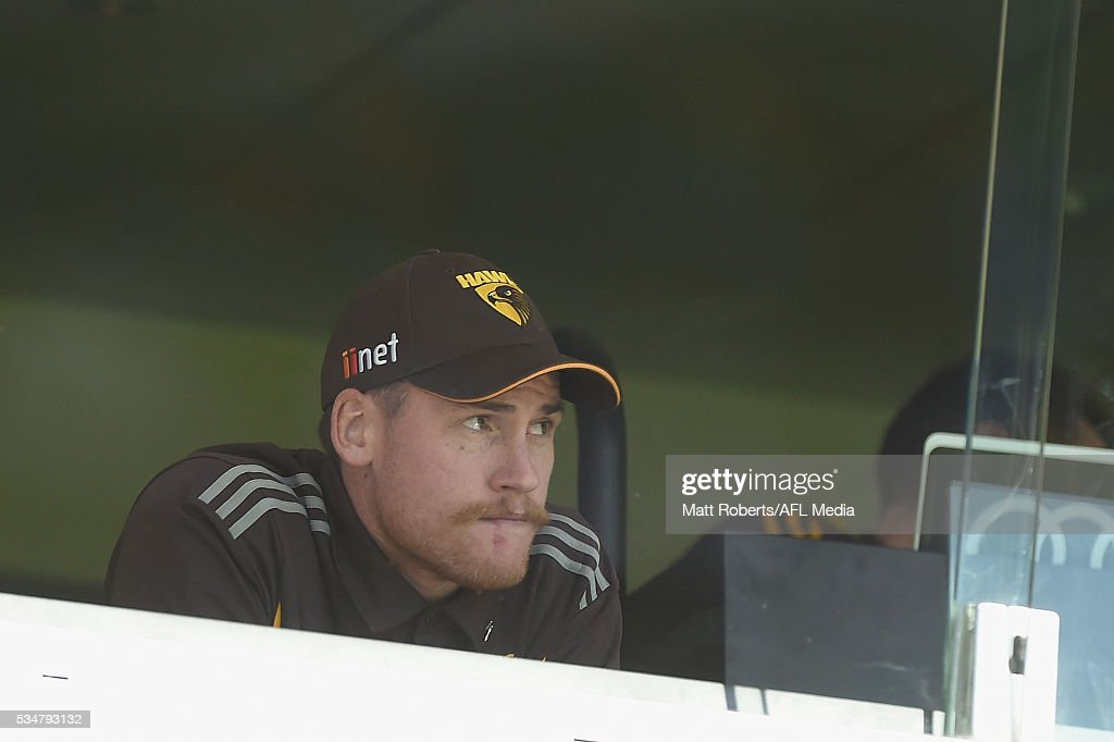 <a gi-track='captionPersonalityLinkClicked' href=/galleries/search?phrase=Jarryd+Roughead&family=editorial&specificpeople=227104 ng-click='$event.stopPropagation()'>Jarryd Roughead</a> of the Hawks looks on during the round 10 AFL match between the Brisbane Lions and the Hawthorn Hawks at The Gabba on May 28, 2016 in Brisbane, Australia.