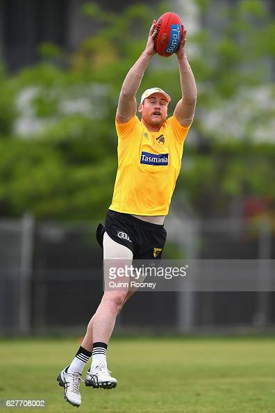 Jarryd Roughead of the Hawks marks during a Hawthorn Hawks AFL preseason training session at Waverley Park on December 5 2016 in Melbourne Australia