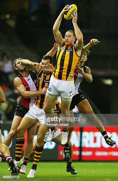 Jarryd Roughead of the Hawks marks the ball during the NAB Challenge AFL match between St Kilda Saints and Hawthorn Hawks at Etihad Stadium on March...