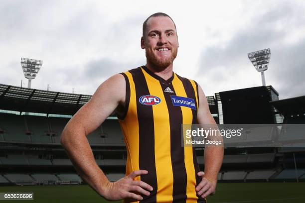 Jarryd Roughead of the Hawks poses speaks to the media during AFL Captains Day at Melbourne Cricket Ground on March 16 2017 in Melbourne Australia