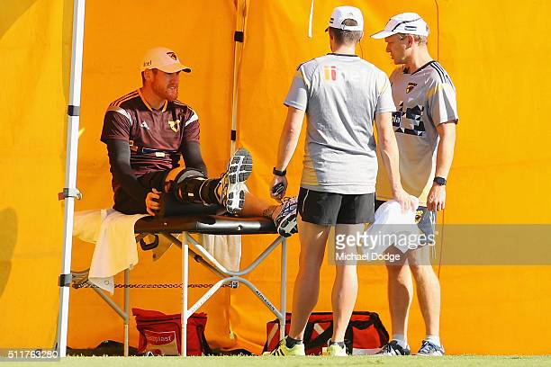 Jarryd Roughead of the Hawks recovering from knee surgery performs leg exercises during a Hawthorn Hawks AFL training session at Waverley Park on...