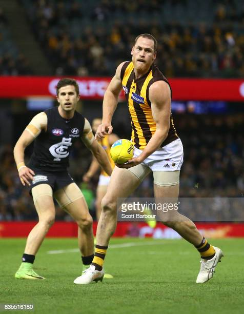 Jarryd Roughead of the Hawks runs with the ball during the round 22 AFL match between the Carlton Blues and the Hawthorn Hawks at Etihad Stadium on...