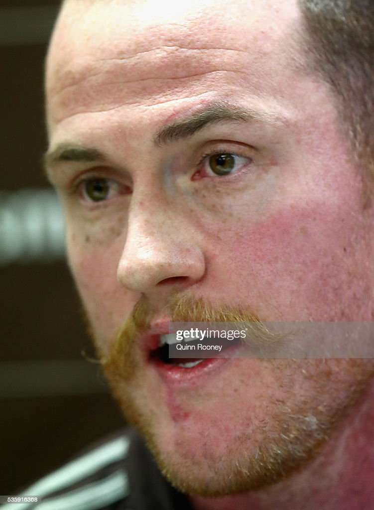 Jarryd Roughead of the Hawks speaks to the media during a Hawthorn Hawks AFL media opportunity at Waverley Park on May 31, 2016 in Melbourne, Australia.