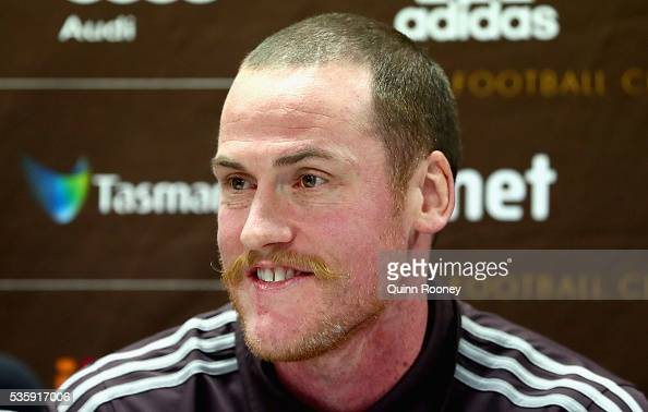 Jarryd Roughead of the Hawks speaks to the media during a Hawthorn Hawks AFL media opportunity at Waverley Park on May 31 2016 in Melbourne Australia