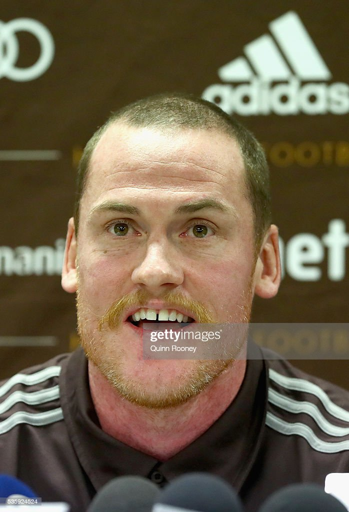 <a gi-track='captionPersonalityLinkClicked' href=/galleries/search?phrase=Jarryd+Roughead&family=editorial&specificpeople=227104 ng-click='$event.stopPropagation()'>Jarryd Roughead</a> of the Hawks speaks to the media during a Hawthorn Hawks AFL media opportunity at Waverley Park on May 31, 2016 in Melbourne, Australia.