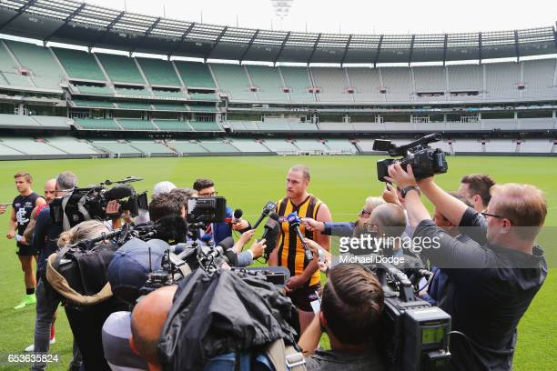 Jarryd Roughead of the Hawks speaks to the media during AFL Captains Day at Melbourne Cricket Ground on March 16 2017 in Melbourne Australia