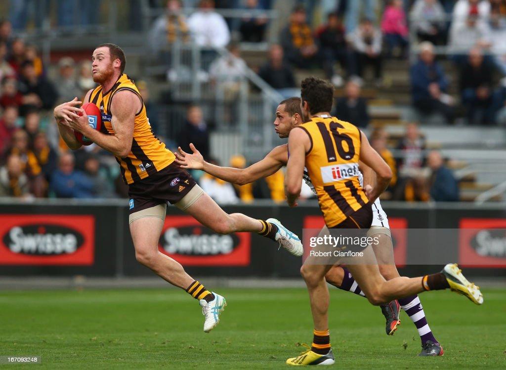 <a gi-track='captionPersonalityLinkClicked' href=/galleries/search?phrase=Jarryd+Roughead&family=editorial&specificpeople=227104 ng-click='$event.stopPropagation()'>Jarryd Roughead</a> of the Hawks takes a mark during the round four AFL match between the Hawthorn Hawks and the Fremantle Dockers at Aurora Stadium on April 20, 2013 in Launceston, Australia.
