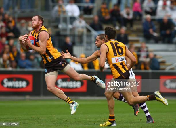 Jarryd Roughead of the Hawks takes a mark during the round four AFL match between the Hawthorn Hawks and the Fremantle Dockers at Aurora Stadium on...