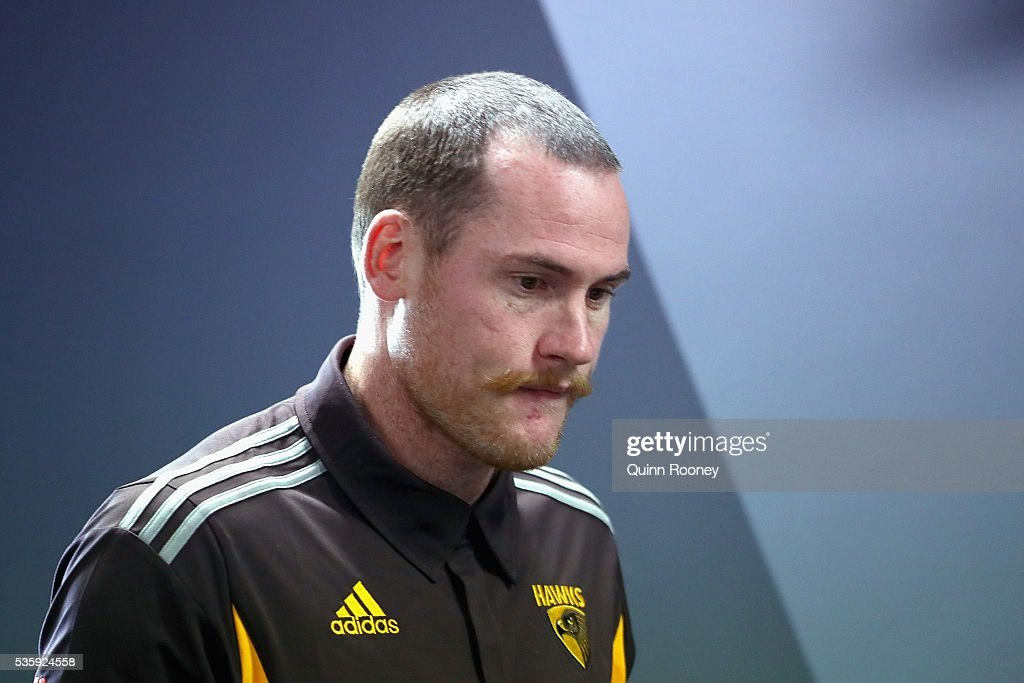 <a gi-track='captionPersonalityLinkClicked' href=/galleries/search?phrase=Jarryd+Roughead&family=editorial&specificpeople=227104 ng-click='$event.stopPropagation()'>Jarryd Roughead</a> of the Hawks walks in to speak to the media during a Hawthorn Hawks AFL media opportunity at Waverley Park on May 31, 2016 in Melbourne, Australia.