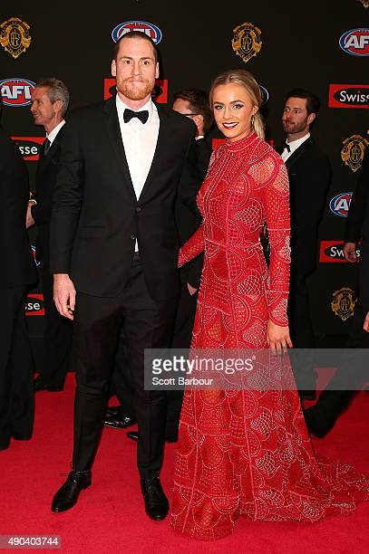 Jarryd Roughead of the Hawthorn Hawks and Sarah Dunn arrive at the 2015 Brownlow Medal at Crown Palladium on September 28 2015 in Melbourne Australia
