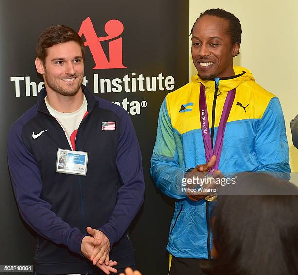 Jarryd Wallace and Christopher Brown attend the Rio 2016 Champions Reception at The Art Institute of Atlanta on January 26 2016 in Atlanta Georgia