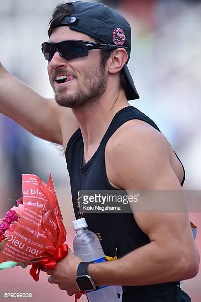 Jarryd Wallace of Japan lwaves after winning the Men's 100m T44/47 during the SEIKO Golden Grand Prix 2016 at Todoroki Stadium on May 8 2016 in...