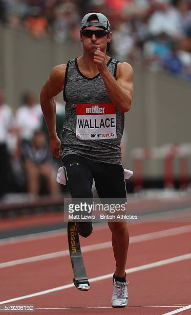 Jarryd Wallace of the United States in action during the Mens 100m T43/44 during day two of the Muller Anniversary Games at The Stadium Queen...