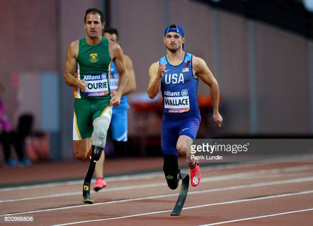 Jarryd Wallace of The USA in action during the final of the mens 200m T44 on day nine of the IPC World ParaAthletics Championships 2017 at London...