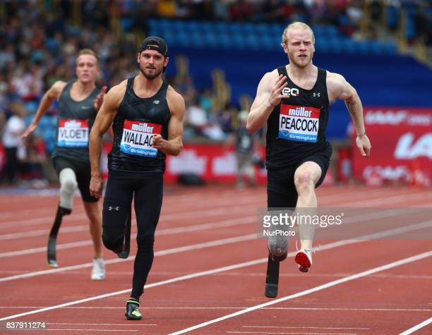 LR Jarryd Wallace of USA and Jonathan Peacock of Great Britain competes in the Men's 100m T44 during Muller Grand Prix Birmingham as part of the IAAF...