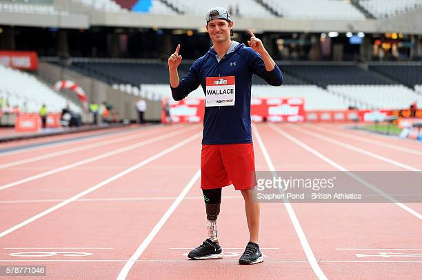 Jarryd Wallace of USA poses at a press conference ahead of the Muller Anniversary Games at The Stadium Queen Elizabeth Olympic Park on July 22 2016...