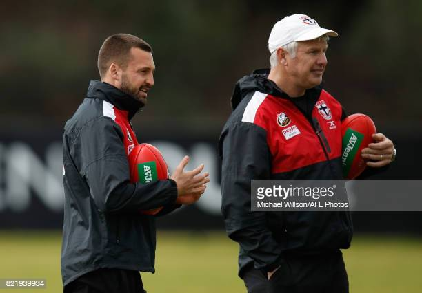 Jarryn Geary and Danny Frawley Specialist Defence Coach of the Saints looks on during the St Kilda Saints AFL training session at the Linen House...