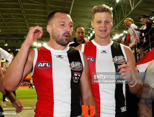 Jarryn Geary and Nick Riewoldt of the Saints celebrate during the 2017 AFL round 03 match between the St Kilda Saints and the Brisbane Lions at...