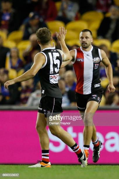 Jarryn Geary of the Saints celebrates a goal during the round three AFL match between the St Kilda Saints and the Brisbane Lions at Etihad Stadium on...