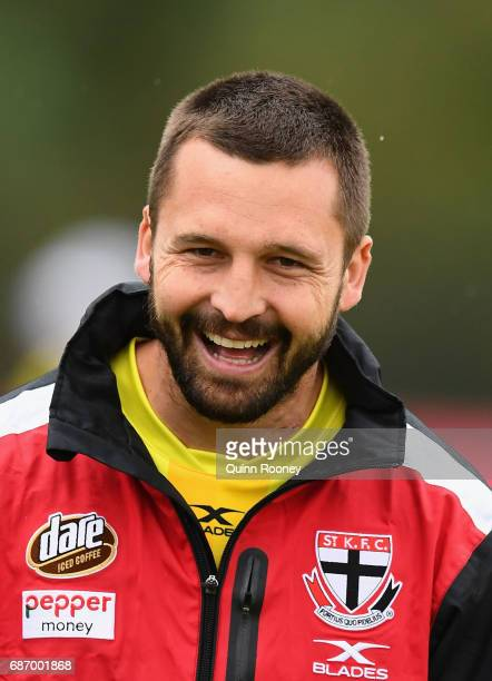 Jarryn Geary of the Saints has a laugh during a St Kilda Saints AFL training session at Linen House Oval on May 23 2017 in Melbourne Australia