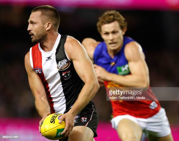 Jarryn Geary of the Saints in action during the 2017 AFL round 03 match between the St Kilda Saints and the Brisbane Lions at Etihad Stadium on April...