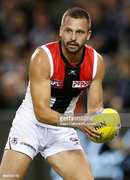 Jarryn Geary of the Saints in action during the 2017 AFL round 04 match between the Collingwood Magpies and the St Kilda Saints at Etihad Stadium on...