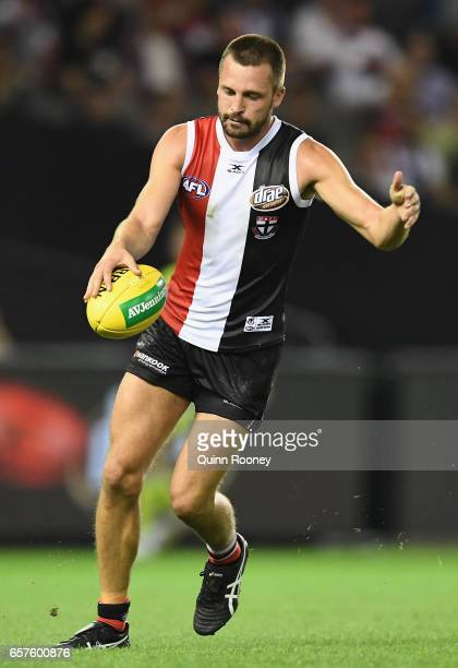Jarryn Geary of the Saints kicks during the round one AFL match between the St Kilda Saints and the Melbourne Demons at Etihad Stadium on March 25...