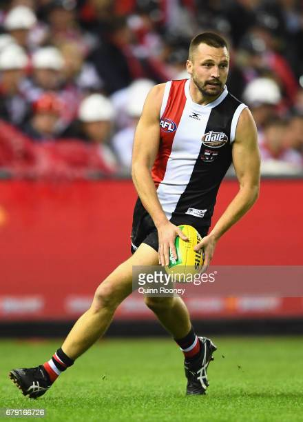 Jarryn Geary of the Saints kicks during the round seven AFL match between the St Kilda Saints and the Greater Western Sydney Giants at Etihad Stadium...
