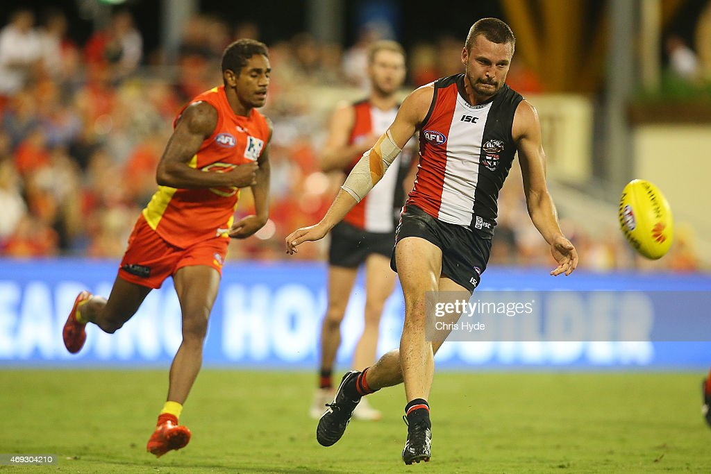 Jarryn Geary of the Saints kicks during the round two AFL match between the Gold Coast Suns and the St Kilda Saints at Metricon Stadium on April 11, 2015 in Gold Coast, Australia.