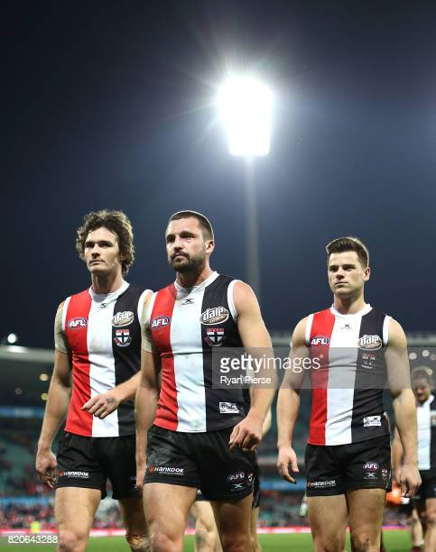Jarryn Geary of the Saints leads his team from the field after the round 18 AFL match between the Sydney Swans and the St Kilda Saints at Sydney...