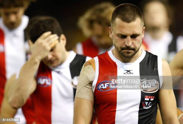 Jarryn Geary of the Saints looks dejected after a loss during the 2017 AFL round 17 match between the St Kilda Saints and the Essendon Bombers at...
