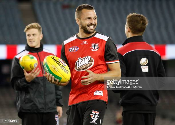 Jarryn Geary of the Saints looks on during the 2017 AFL round 05 match between the St Kilda Saints and the Geelong Cats at Etihad Stadium on April 23...