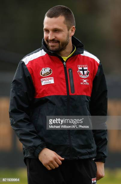 Jarryn Geary of the Saints looks on during the St Kilda Saints AFL training session at the Linen House Centre on July 25 2017 in Melbourne Australia