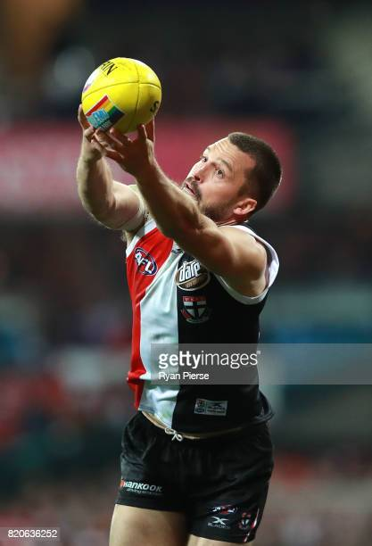 Jarryn Geary of the Saints marks during the round 18 AFL match between the Sydney Swans and the St Kilda Saints at Sydney Cricket Ground on July 22...