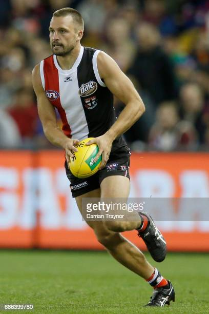 Jarryn Geary of the Saints runs with the ball during the round three AFL match between the St Kilda Saints and the Brisbane Lions at Etihad Stadium...