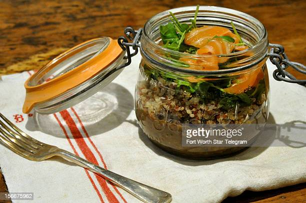 Jars are great for saving and using again and again for storing things or serving this lentil salad with smoked salmon