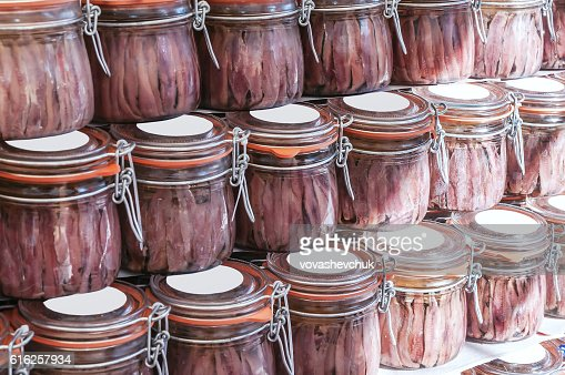 jars of anchovies : Foto de stock