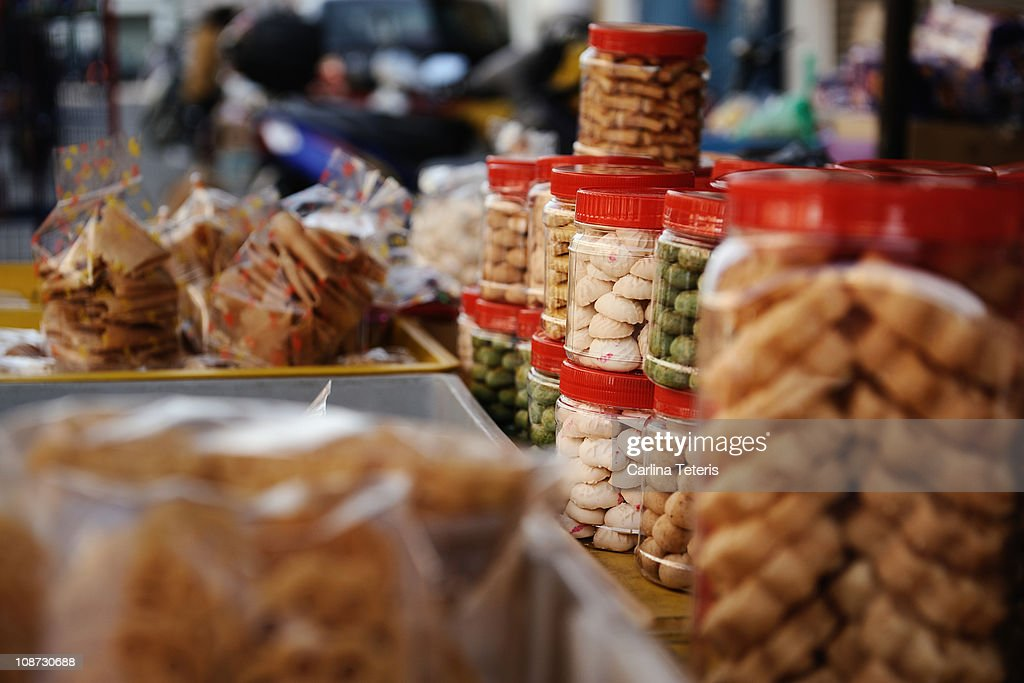 jars of chinese new year sweets : Stock Photo